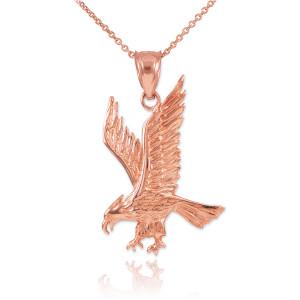 Solid Rose Gold Eagle Pendant Necklace