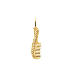 Gold Diamond Cut Hair Comb Charm Necklace