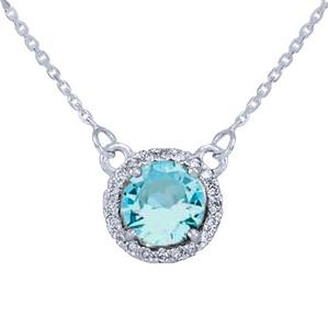 14k White Gold Diamond Aquamarine Necklace