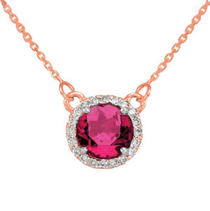 14k Rose Gold Diamond Alexandrite Necklace