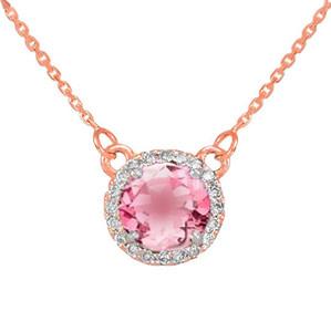 14k Rose Gold Diamond Pink Tourmaline Necklace