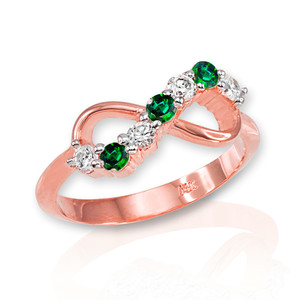 Rose Gold Triple Birthstone Infinity CZ Ring