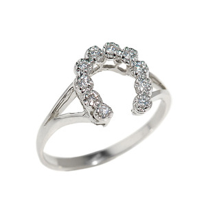Sterling Silver Cubic Zircona Horseshoe Ladies Ring