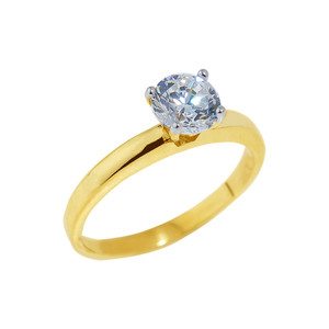 Gold Round Cut CZ Engagement Ring