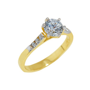 Gold Engagement Ring with Cubic Zirconia