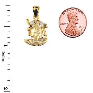 Yellow Gold Diamond-Cut Queen Cleopatra Pendant