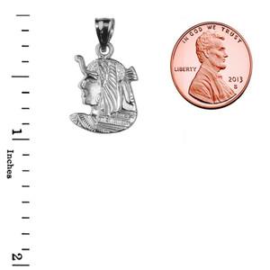 White Gold Diamond-Cut Queen Cleopatra Pendant
