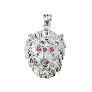 Sterling Silver Diamond Cut Lion Head Charm Pendant Necklace