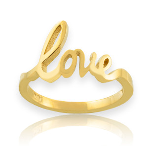 """Solid Gold """"Love"""" Script Ring"""