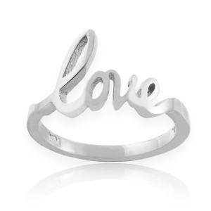 "Sterling Silver ""Love"" Script Ring"