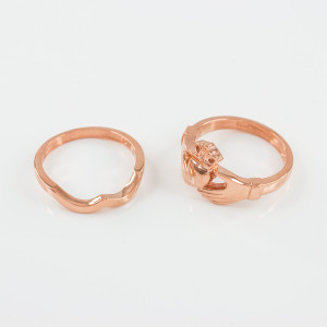 2-Piece Rose Gold Classic Claddagh Engagement Ring Band