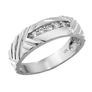 Sterling Silver Men's Diamond Wedding Band