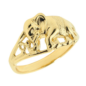 Solid Yellow Gold Openwork Elephant Ring