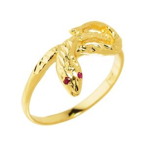 Yellow Gold Diamond-Cut Snake Ring