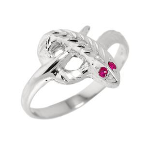 High Polished White Gold Diamond-Cut Snake Ring