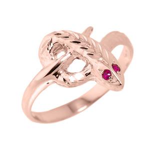 High Polished Rose Gold Diamond-Cut Snake Ring