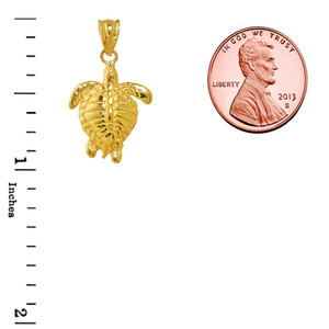 Yellow Gold Turtle Charm Pendant Necklace