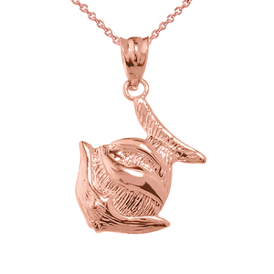 Rose Gold Clown Fish Charm Pendant Necklace