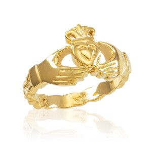 Gold Claddagh Engagement Ring with Celtic Band