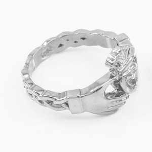 White Gold Claddagh Engagement Ring with Celtic Band