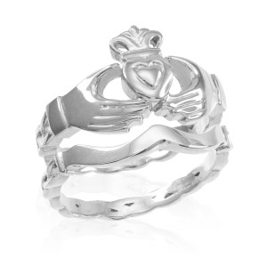 2-Piece Sterling Silver Claddagh Engagement Ring with Celtic Band
