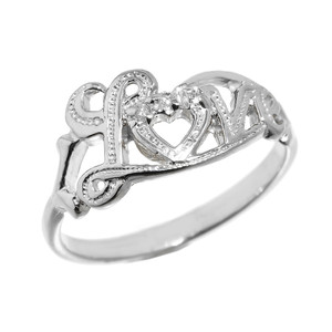 """Love"" Script Sterling Silver Diamond Ring"