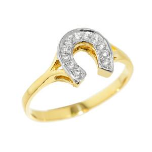 Yellow Gold CZ Studded Ladies Horseshoe Ring