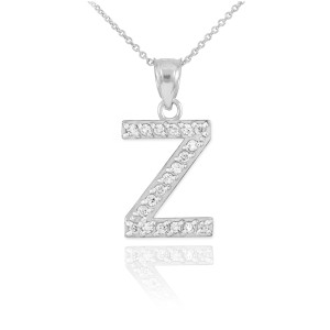 """Sterling Silver Letter """"Z"""" CZ Initial Pendant Necklace"""