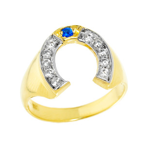 Yellow Gold Diamond and Blue Sapphire Men's Horseshoe Ring