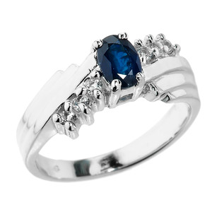 Dazzling Sterling Silver  White Topaz and Blue Sapphire Ladies Ring