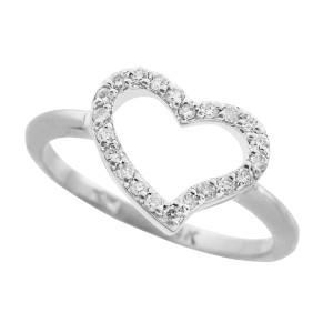 White Gold CZ Heart Ring