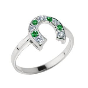 White Gold White and Green CZ Ladies Horseshoe Ring