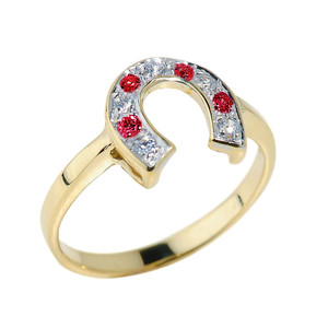 Yellow Gold White and Red CZ Ladies Horseshoe Ring