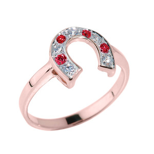 Rose Gold White and Red CZ Ladies Horseshoe Ring