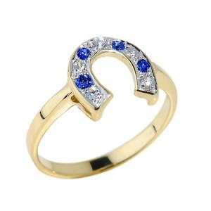 Yellow Gold White and Blue CZ Horseshoe Ring