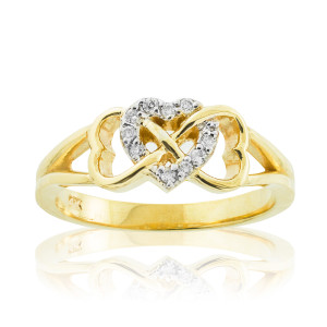 Gold Diamond Infinity Heart Ring