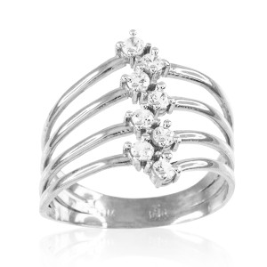 White Gold Four-Band CZ Ring