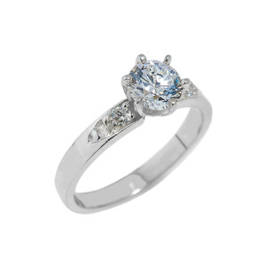 White Gold Engagement Ring with CZ