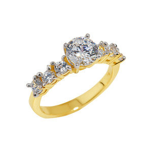 Gold CZ-Studded Engagement Ring