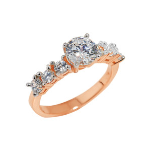 Rose Gold CZ-Studded Engagement Ring