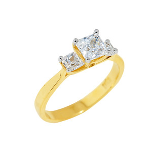 Gold Princess Cut Engagement Ring with CZ