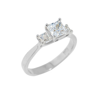 White Gold Princess Cut Engagement Ring with CZ