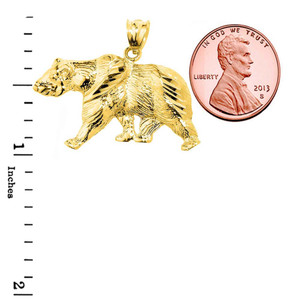 Solid Yellow Gold Diamond Cut Bear Pendant