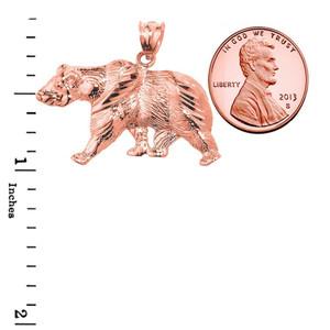 Solid Rose Gold Diamond Cut Bear Pendant