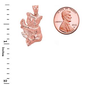 Solid Rose Gold Diamond Cut Koala Bear Pendant