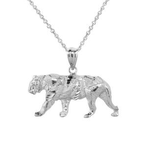 Solid White Gold Diamond Cut Tiger Pendant