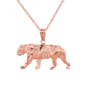 Solid Rose Gold Diamond Cut Tiger Pendant