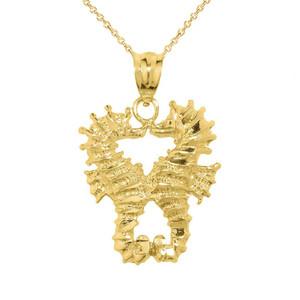 Yellow Gold Seahorse Charm Pendant