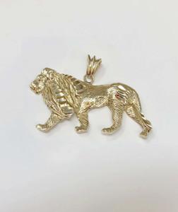 Yellow Gold Diamond Cut Lion Pendant Necklace