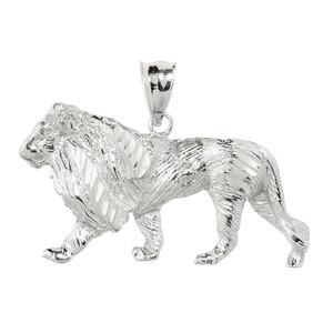 Sterling Silver Diamond Cut Lion Pendant Necklace